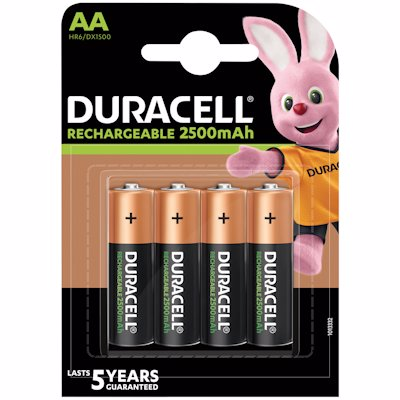 DURACELL RECHARGEABLE 2500 MAH AA BATTERIES 4'S