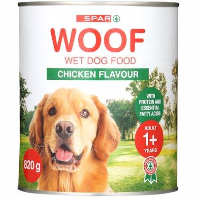 SPAR WOOF D/FOOD CHICKEN 820G