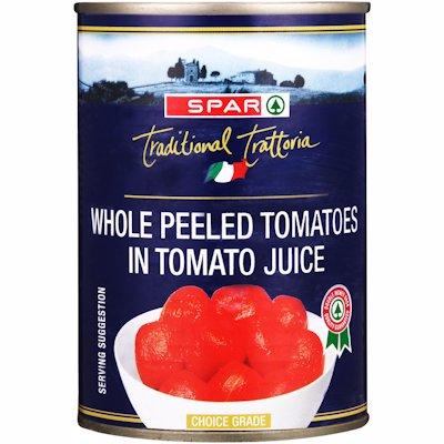 SPAR TOMATO WHOLE PEELED 410G