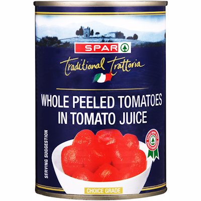 SPAR WHOLE PEELED TOMATOES IN TOMATO JUICE 410G
