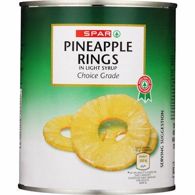 SPAR PINEAPPLE RINGS 825G