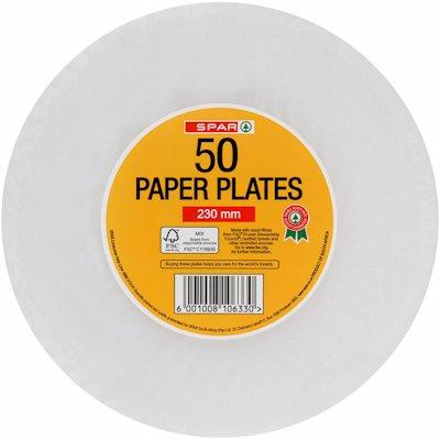 SPAR PAPER PLATES 23CM 50'S