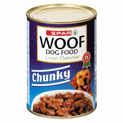 SPAR WOOF DOG FOOD CHUNKY LIVER FLAVOUR 385G