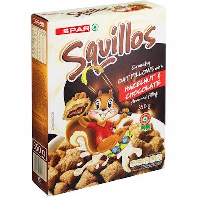 SPAR SQUILLOS OAT PILLOWS HAZELNUT & CHOC 350G