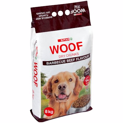 SPAR WOOF CHUNKS BARBECUE BEEF FLAVOUR 8KG