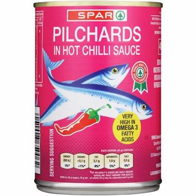 SPAR PILCHARDS CHILLI SCE 400GR