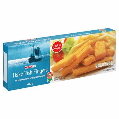 SPAR HAKE FISH FINGERS CRUMBED 400G