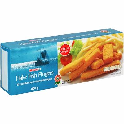 SPAR HAKE FISH FINGERS CRUMBED 800G