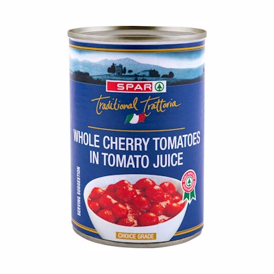 SPAR WHOLE CHERRY TOMATOES IN TOMATO JUICE 400G