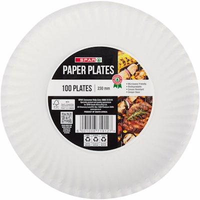 SPAR PAPER PLATES 230MM 100'S