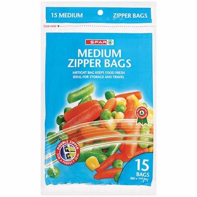 SPAR ZIPPER BAG MEDUIM 15'S