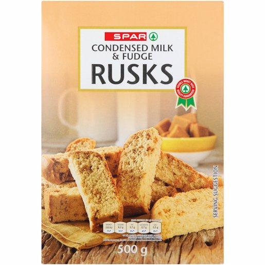 SPAR RUSKS COND MILK&FUDG 500GR
