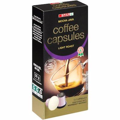 SPAR COFFEE CAPSULES MOCHA JAVA LIGHT ROAST 10 X 5G