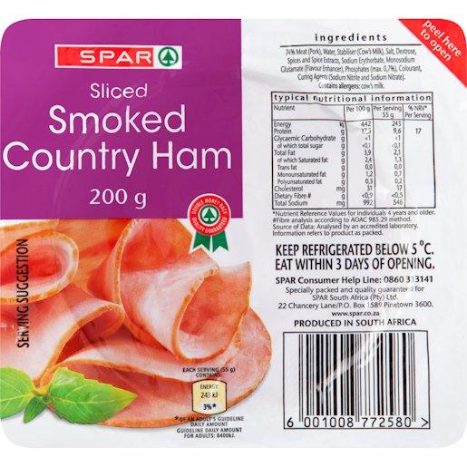 SPAR COLD MEAT CNTRY HAM 200GR
