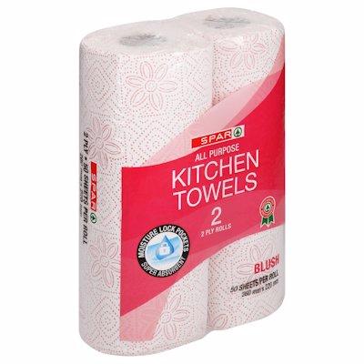 SPAR KITCHEN TOWEL BLUSH 2PLY 2'S