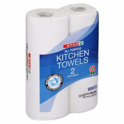 SPAR KITCHEN TOWEL WHITE 2 PLY 2'S
