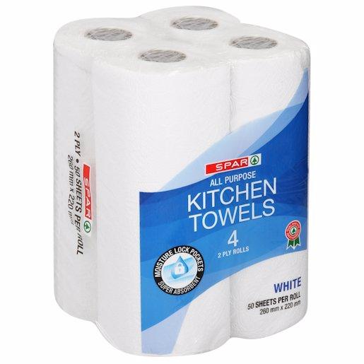 SPAR K/TOWEL WHITE 2PL 4'S