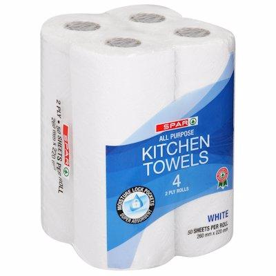 SPAR KITCHEN TOWELS WHITE 2PLY 4'S