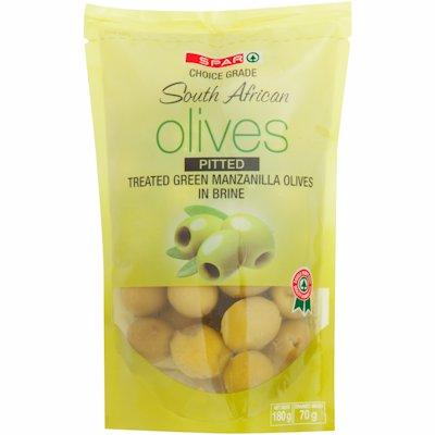 SPAR OLIVES PITTED GREEN MANZANILLA OLIVES 180G