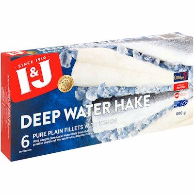 I & J DEEP WATER HAKE SKIN ON PLAIN FILLETS 800G