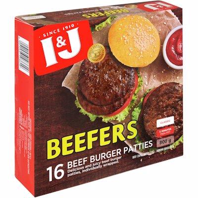 I & J BEEFERS BEEF PATTIES ORIGINAL 800GR
