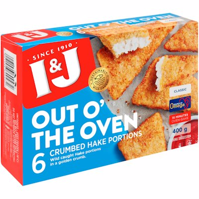 I & J OUT 'O THE OVEN  CLASSIC HAKE PORTION 400G