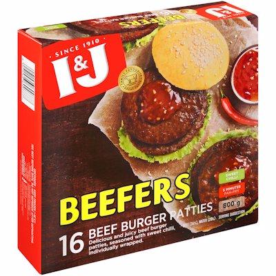 I & J BEEFERS BEEF PATTIES SWEET CHILLI 800GR