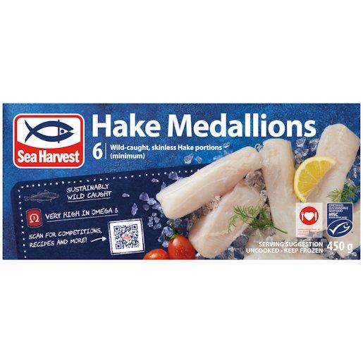 S/HARVEST HAKE MEDALLIONS 450G