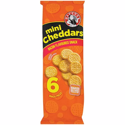 BAKERS MINI CHEDDARS BACON 198GR