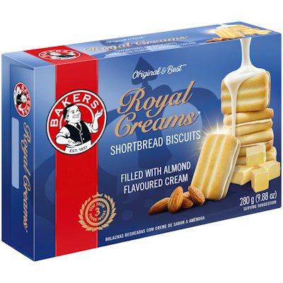 BAKERS ROYAL CREAMS SHORTBREAD BISCUITS 280GR