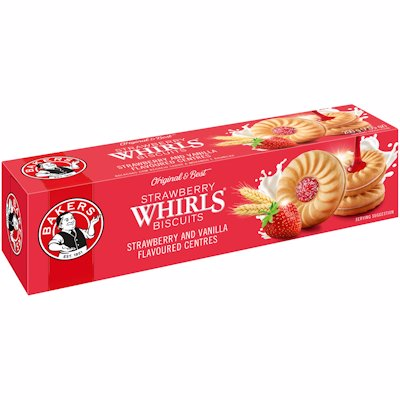 BAKERS STRAWBERRY WHIRLS BISCUITS 200G