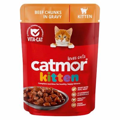 CATMOR KITTEN BEEF CHUNKS IN GRAVY 85GR