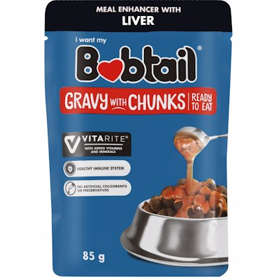 BOBTAIL GRAVY CHUNKS LIVER FLAVOUR 85G