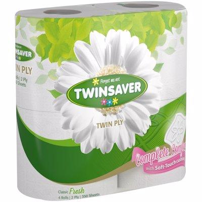 TWINSAVER LUXURY 2PLY WHITE 4'S