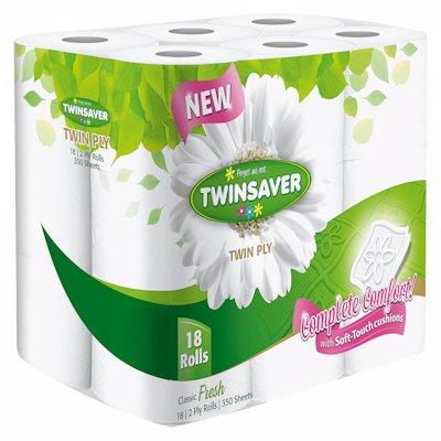 TWINSAVER TOILET TISSUE WHITE 2 PLY 18'S