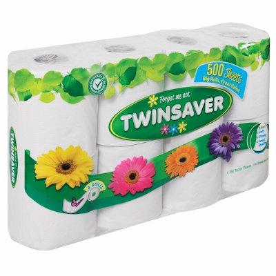TWINSAVER TOILET TISSUE WHITE 1 PLY 8'S