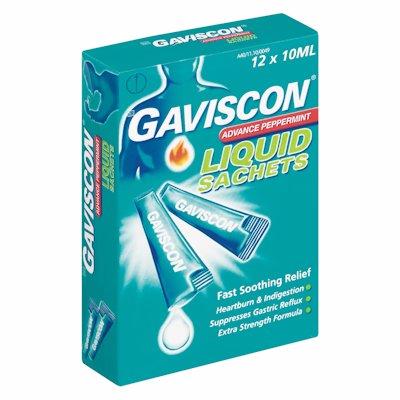 GAVISCON ADVANCE PEPPERMINT LIQUID SACHETS 12'S