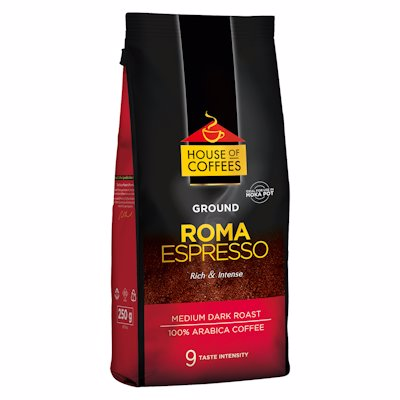 HOUSE OF COFFEES GROUND ROMA ESPRESSO 9 250G