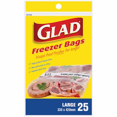 GLAD FREEZER BAGS LRGE 25'S