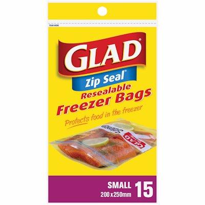GLAD ZIP BAGS FREEZER SMALL 15'S