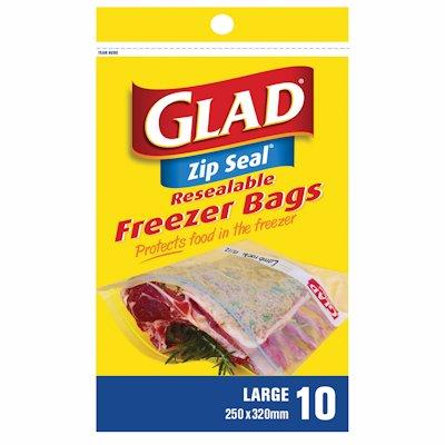 GLAD ZIP BAG FRZ LRG 10'S