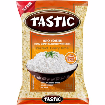 TASTIC RICE QUICK COOKING PARBOILED RICE 2KG
