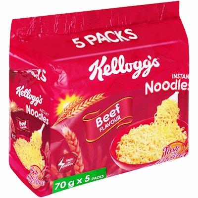 KELLOGGS INSTANT NOODLES BEEF  FLAVOUR 5'S
