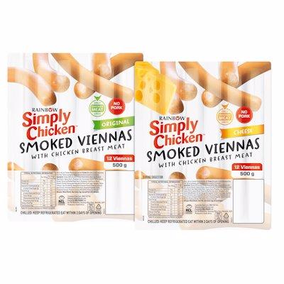SIMPLY CHICKEN 12 SMOKED VIENNAS CHEESE 500G