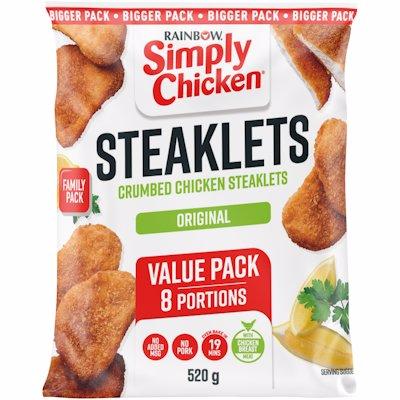 SIMPLY CHICKEN CRUMBED CHICKEN STEAKLETS 520GR