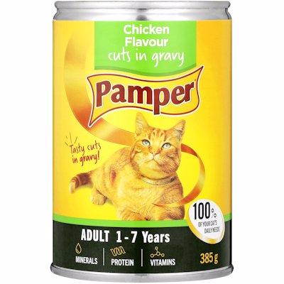PAMPER ADULT CHICKEN FLAVOUR CUTS IN GRAVY 385GR