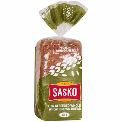 SASKO LOW GI SEESDED WHOLEWHEAT BROWN BREAD 800GR