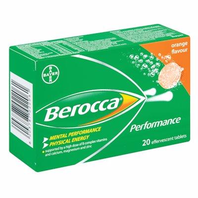 BEROCCA EFFERVESCENT TABLETS ORANGE 20'S