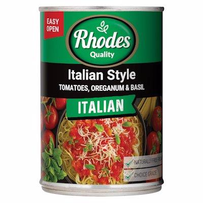 RHODES ITALIAN STYLE TOMATO ORIGANUM BASIL 410G
