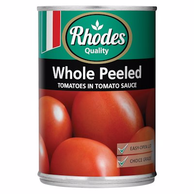 RHODES WHOLE PEELED TOMATOES IN TOMATO SAUC 410G